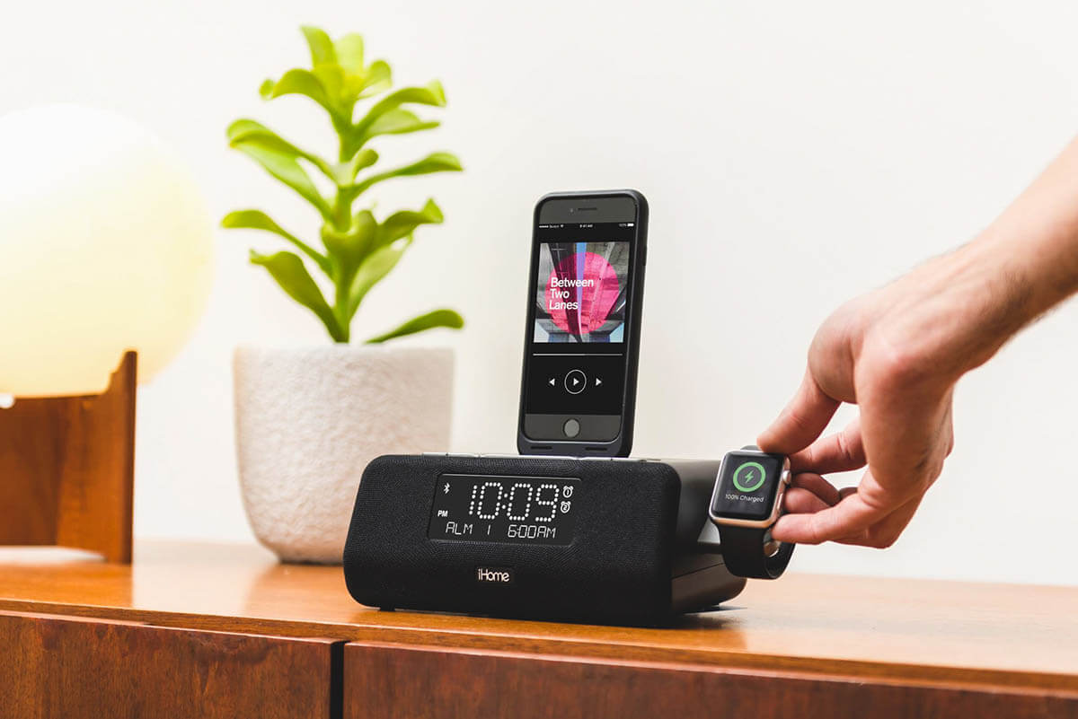 iHome Alarm Clock Charging iPhone and Apple Watch