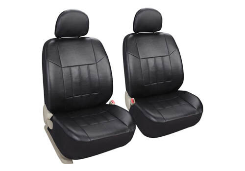 Leader Accessories Auto 2 Leather Black Car Seat Covers